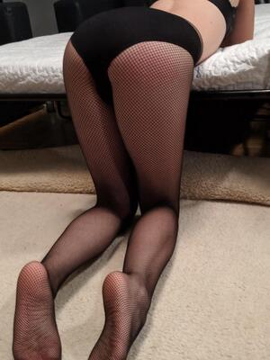 Do you like my gfs cute feet and butt in fishnets?