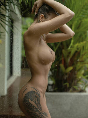 Tattoo girls in the shower