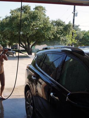 Washing the car is always fun