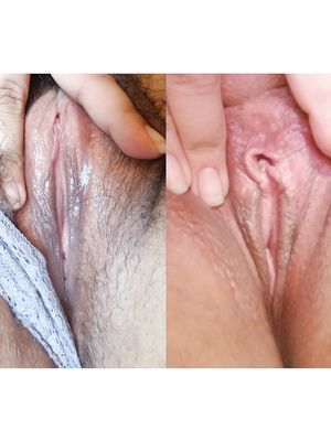 Hairy and Shaved Pussy - Before and After