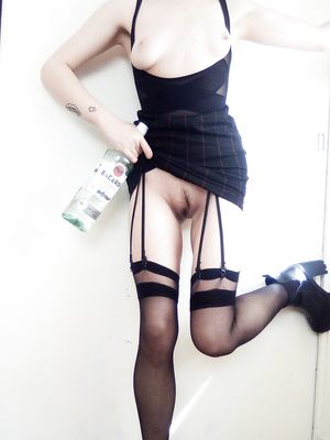 Drunk Redhead In Black Dress Flasing Tits and Hairy Cunt