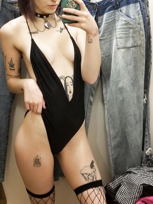 Smal Tits Teen Try Black Swimsuit in Changing Room