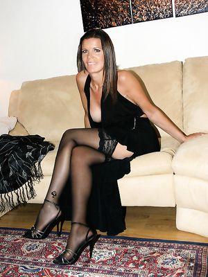 Stocking, posing, wife