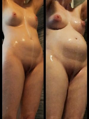 Pregnant Babe in Shower Before and After