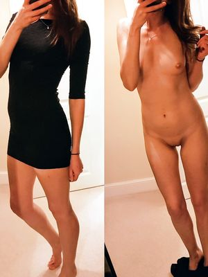 Slim Teen in Black Dress Before and After