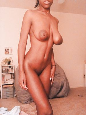 Skinny Ebony GF With Saggy Tits
